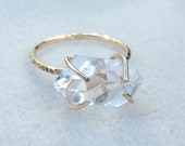 PREORDER Herkimer diamond ring in Gold Filled or Sterling Silver / choose your size / FREE gift wrapping