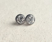10mm silver druzy stud earrings in stainless steel / other colors available / FREE gift wrapping