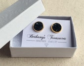 10mm black and gold druzy stud earrings / other colors available / FREE gift wrapping