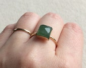 8mm Lemon Jade faceted ring in 14K Gold Filled setting size 6.25