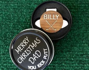 Personalized Golf Ball Marker & Gift Tin Box  - Merry Christmas Dad, Golfer, Men's Gift, Dad Gift, Golf Gift, Grandpa Gift, Stocking Stuffer