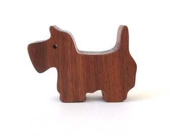 Miniature Wooden Dog Toy Scottish Terrier Westie Waldorf Wood Toys Hand Cut Scroll Saw Walnut