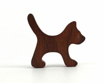 Miniature Wooden Cat Toy Waldorf Wood Farm Animal Toys Halloween Black Cat Decoration Hand Cut Scroll Saw