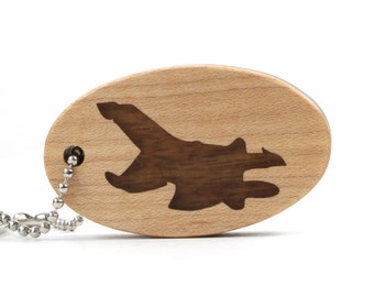 Fighter Jet Key Chain, Scroll Saw Wood Airplane Keychain, Fighter Pilot Accessory, Jet Key Fob, Wood Keychain Walnut