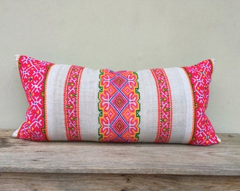"""Ethnic Hmong Hand Embroidered Organic Hemp Pillow Case 16"""" x 32""""  Pieces Of Ethnic Costume"""