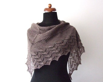 brown scarf, ON SALE 20% OFF, triangle lace shawl, wool and acrylic, warm and delicate