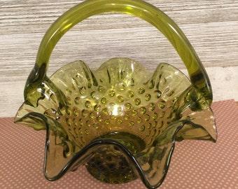Green Fenton Hobnail Basket Vase Bowl