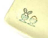 Ceramic Soap Dish, Easter Plate - Easter Bunny and Chick in Egg Cups (Dessert Plate, Trinket Dish, Soap Dish, Hostess Gift)