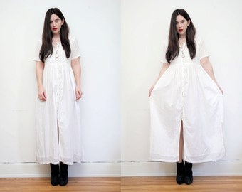 Vintage Indian Boho White Embroidered Dress Hippie Dress Ethnic Floral Gauze Cotton Dress 70s