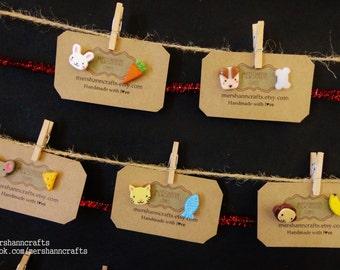 Cute Animal stud earrings (1pair) Cat-Fish Mouse-Cheese Bunny-Carrot Monkey-Banana Dog-Bone