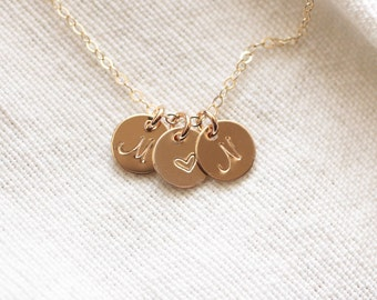 Gold Initial Necklace, Mothers Necklace, Personalized Necklace, Dainty Initial Charm Necklace, Grandma Necklace, Gift for Mom, Rose Gold