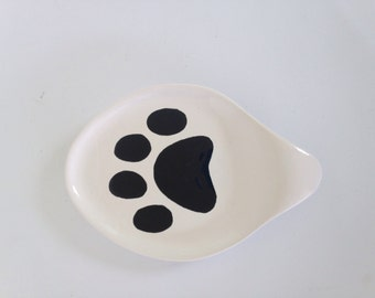 Ceramic Spoon Rest - Serving Spoon Holder - White with Black Paw Print