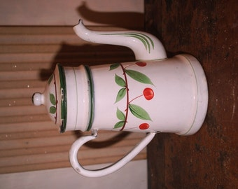 Enameled  French COFFEE POT hand painted with CHERRIES