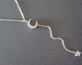 Sparkling Moon & Star Sterling Silver Lariat Necklace