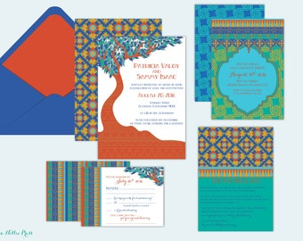 Art Nouveau/Egyptian/Moroccan - Whimsical Style Tree Wedding Invitations/Colorful