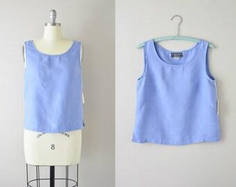 Modern Vintage Box Cut Linen Top   Cornflower Blue   1980s Linen Crop Top   Sleeveless Linen Top