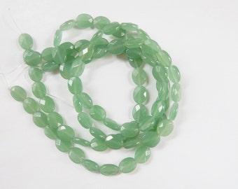 Green aventurine  oval beads, faceted  (10x8mm), FULL STRAND