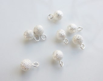 6pcs (5mm)   stardust  sterling silver  round charms , stardust ball charm