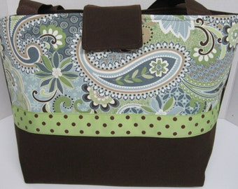 Paisley Print with Chocolate Brown Diaper Bag -- Made and Ready to Ship