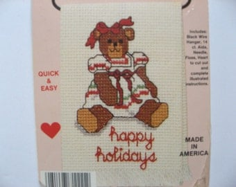 Wireworks Cross Stitch ornament kit. Happy Holidays Teddy Bear Girl. mini towel with hanger. Complete unopened kit. Country wireworks 071111
