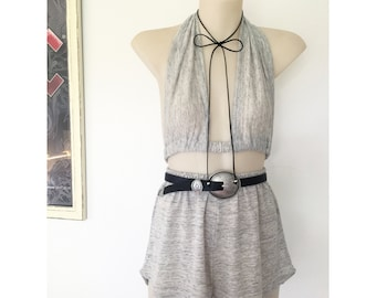 Festival Outfit Matching set all grey gray bralette halter crop top and high waist racer shorts