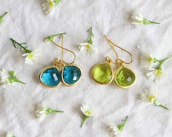 Crystal Glass Stone Earrings, Birthstone Teardrop Crystal Jewelry, Bridesmaid Jewelry, Peridot, Indicolite