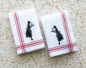 Miniature Pair Retro Lady in Apron Silhouette  Design Kitchen Tea Towels in 1:12 Scale for Dollhouse