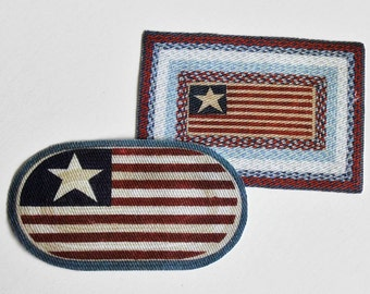 Miniature Flag Americana Doormats Braided Look 1:12 Scale for Dollhouse
