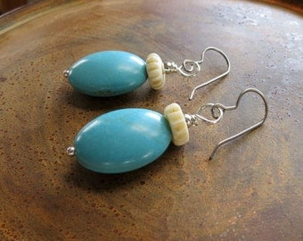 blue magnesite earrings . HOPE . sterling silver earrings . blue stone earrings . bone earrings . hypoallergenic ear wires . blue earrings