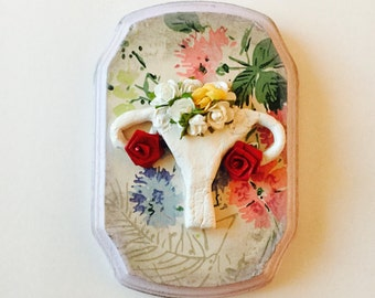 Anatomical Ceramic Wall Art Grow a Pair But Keep the Pink Flowers