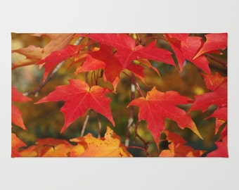 Maple leaf rug, Area rug with Fiery autumn maple leaves, red, scarlet, gold, orange, home decor, gift for gardener, living room, bedroom