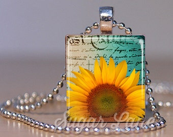 Sunflower Necklace - (SA1 - Teal, Golden Yellow) Scrabble Tile Pendant with Chain - Sunflower Pendant