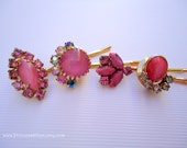 Vintage earrings hair slides - Pink satin moonglow sparkly rhinestones round marquise leaf fun jeweled embellish decorative hair accessories