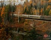 Train photography, Fall photography, Train print, photography print, blank note card, photo card, train print, Fall landscape photography,