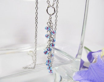 Blue Water Fall Silver Necklace
