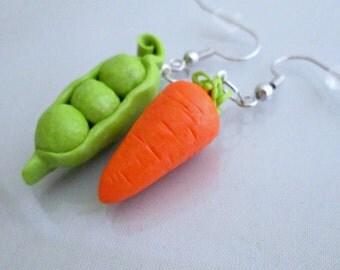 Pea and Carrot Earrings