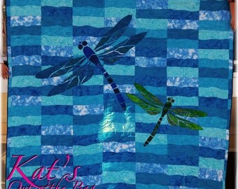 Dragonfly Quilt using blue and green batiks