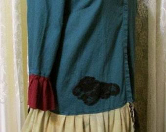 Large Boho Blouse, dark emerald top,OOAK altered blouse, upcycled blouse, refashioned blouse, recreated blouse