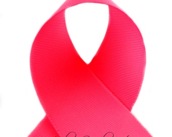 Neon Pink 7/8 inch - Fuchsia, Hot Pink, Shocking Pink Grosgrain Ribbon for Hair Bows, Solid Ribbon by the Yard - Hairbow Supplies, Etc.