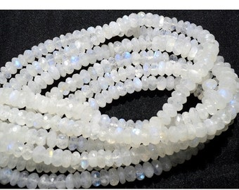 ON SALE 51% Rainbow Moonstone Rondelle Beads, 8mm Beads, Faceted Rondelle Beads, 7 Inch Half Strand