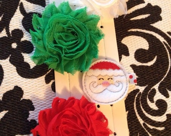 Christmas Santa Hair Clips Set Red Green Shabby Flowers
