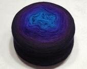 Gradient yarn extra fine merino yarn lace weight yarn handdyed yarn 80-83g (2.8-2.9oz) - Blue to black-navy