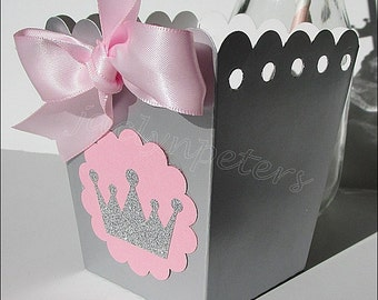 Princess Party Favors, Pink & Silver, Popcorn Boxes, Glitter Tiara Crown, Girls Birthday, Baby Shower Decor, Dessert Table Supply, Set Of 12
