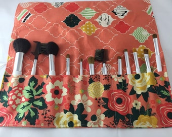 MakeUp Brush Holder Makeup Brush Roll - Makeup Brush Organizer -Makeup Brush Case Cosmetic Brush Bag Makeup Brush Bag Fabulous Main in Coral