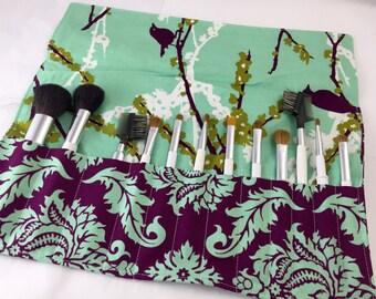 Makeup Brush Roll Case - Makeup Brush Holder - Makeup Bag - Makeup Brush Organizer - Joel Dewberry Damask in Plum