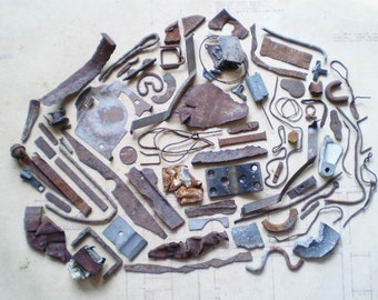 73 Rusty Metal Pieces - Found Objects for Assemblage, Jewelry or Altered Art - Salvaged Supplies - Industrial Salvage