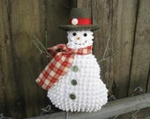 Primitive Happy Snowman Ornament, Smiling Snowman Tuck, vintage chenille, rustic country holidays, Prim snowman, red green, unique Gift
