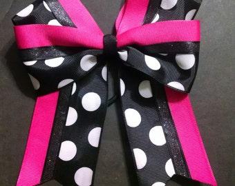 Hair Bow Hot Pink black Polka Dot sparkle cheer, softball double bow 6 inches
