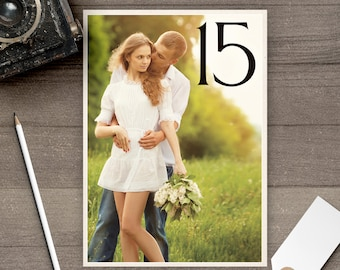 Photo Table Numbers / Photo Wedding Table Numbers / Table Numbers / Table Number Cards / Photos / Engagement Pictures - tn0020