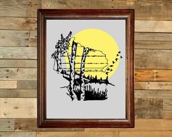 Birch Tree Wisconsin - Digital Art Print